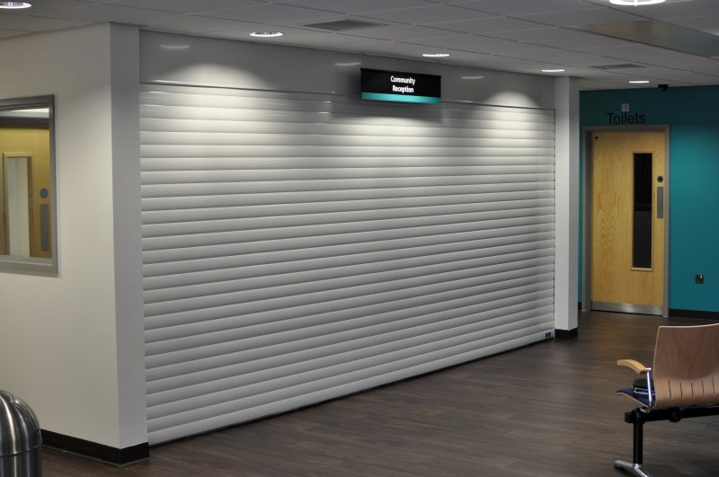 Insulated alumiunium roller shutters at a reception