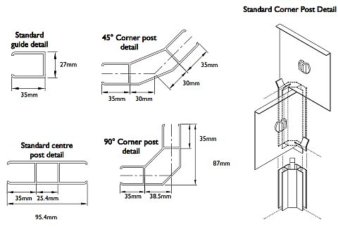 Technical drawing details of roller grille corner and center posts.