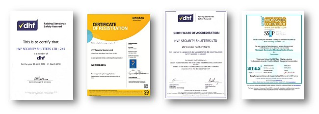 Certification documents showing that HVP Security Shutters is a DHF member, IS0 9001:2008 certified and Worksafe accredited.