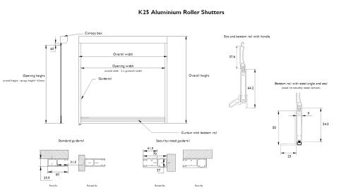 K25 Aluminium Roller Shutters Versatile Security Shutters