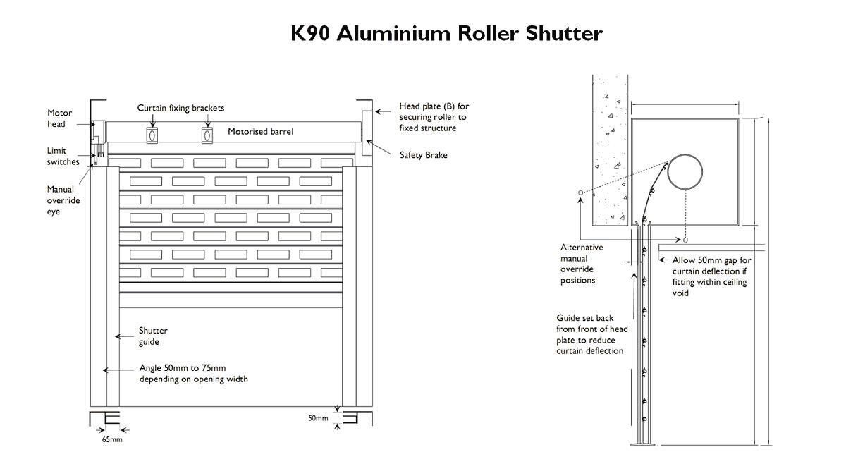 K90 Aluminium Roller Shutters Lightweight Strong See