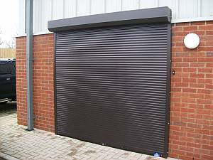 Roller shutter at office entrance. & Commercial roller shutter doors