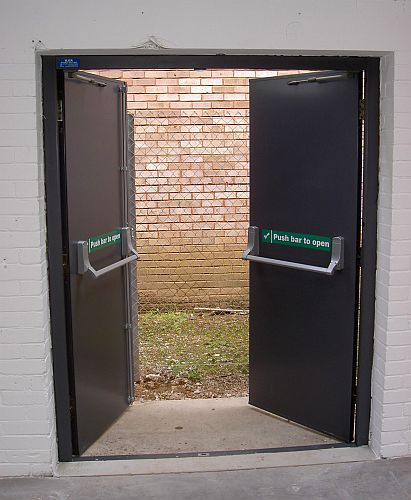 Fire Escape Door : Steel doors hinged security and fire