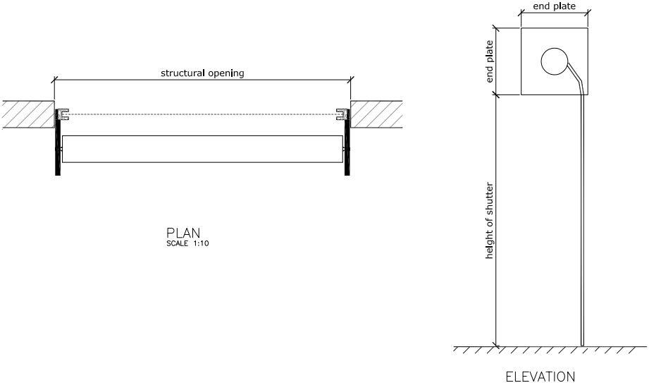 Technical drawing of a wooden roller shutter reveal fix.