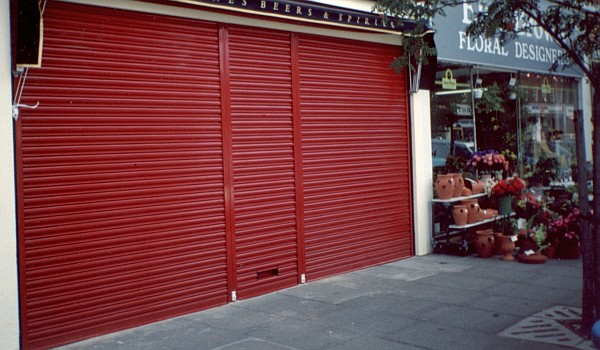 A security roller shutter in a good state of repair.